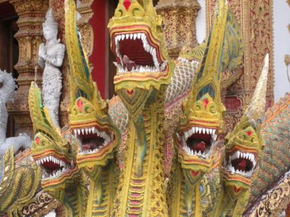 five-headed naga, serpent-dragon, at Wat Buparam, a cool temple in Chiang Mai