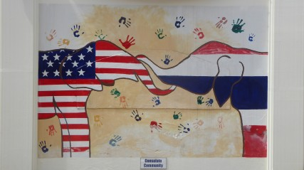 detail of a mural of elephants with American and Thai flag motifs, symbolizing friendship, at the U.S. Consulate in Chiang Mai