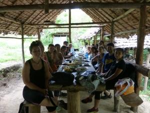 lunch in a Karen village