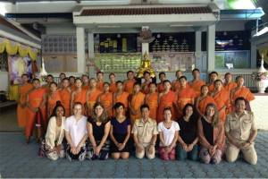 students with monks at Wat Mae Rim